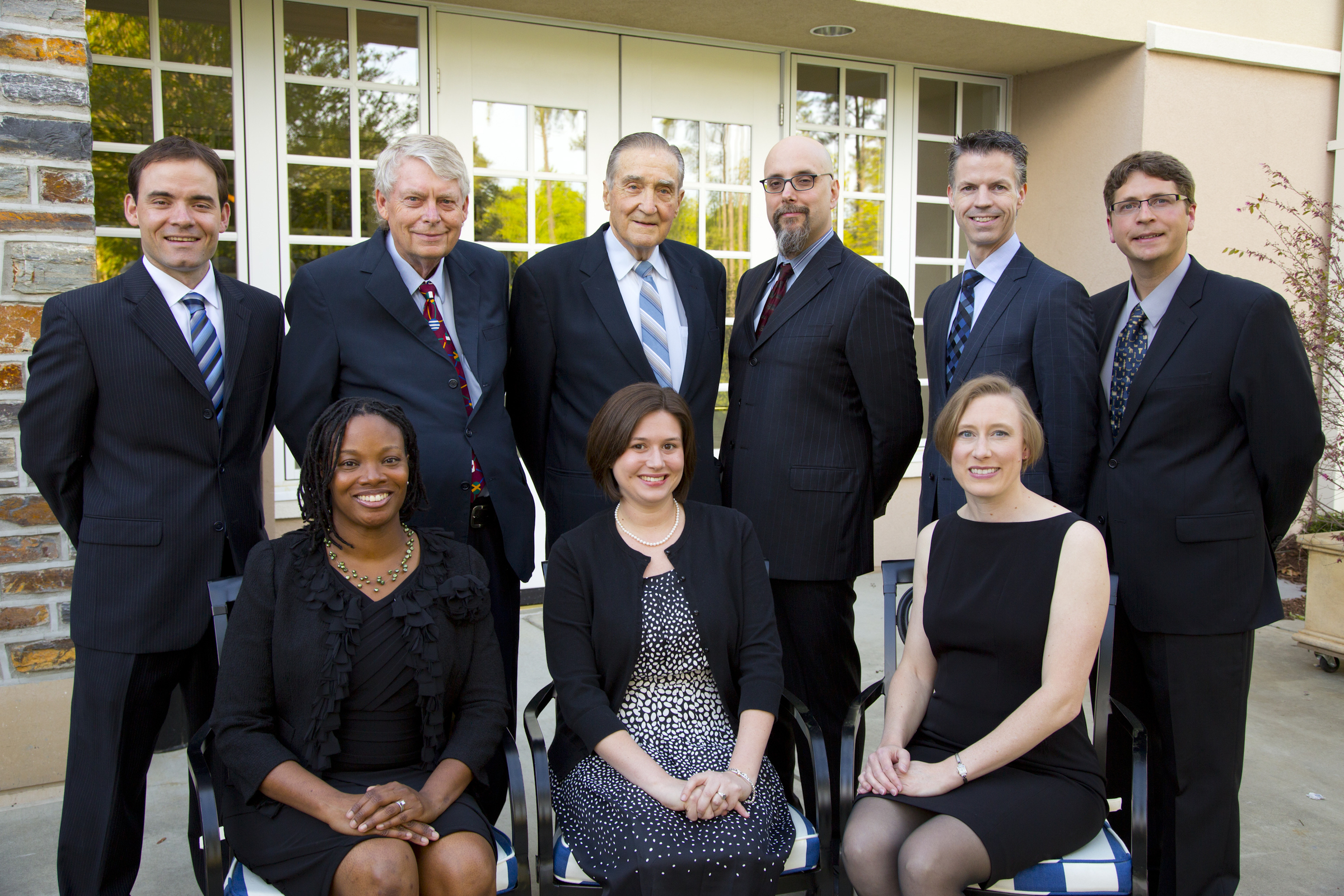 Pictured clockwise from top right are Charles Gersbach, Roger Barr, Edward Koffenberger, Stefano Curtarolo, Michael Hill, Nicholas Millington, Lisa Huettel, Rebecca Dupre, La Tondra Murray