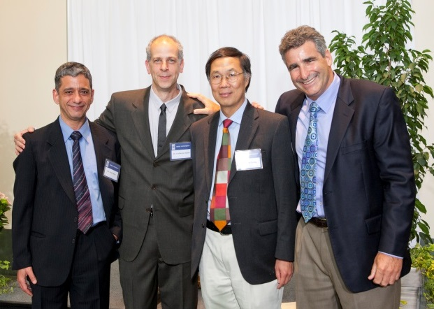 From left: Edmund T. Pratt, Jr. Professors Omar Knio and Guillermo Sapiro with NAE member Kam Leong and Dean Tom Katsouleas