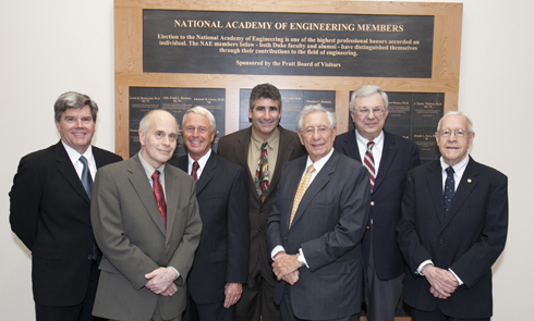 L-R Turner Whitted, Robert Calderbank, Skip Bowman, Tom Katsouleas, Bob Fischell, Henry Petroski, Fred Brooks