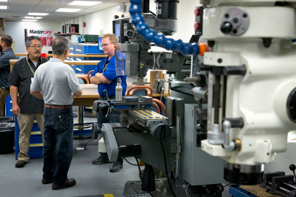 Machine shop managers from across the country are given a tour of the Duke Engineering Student Machine Shop.