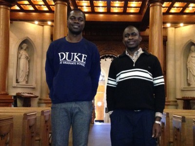 The first two MUK students participating in the graduate program, Kenneth Rubango (left) and Henry Kiwumulo, arrived at Duke in mid-August.