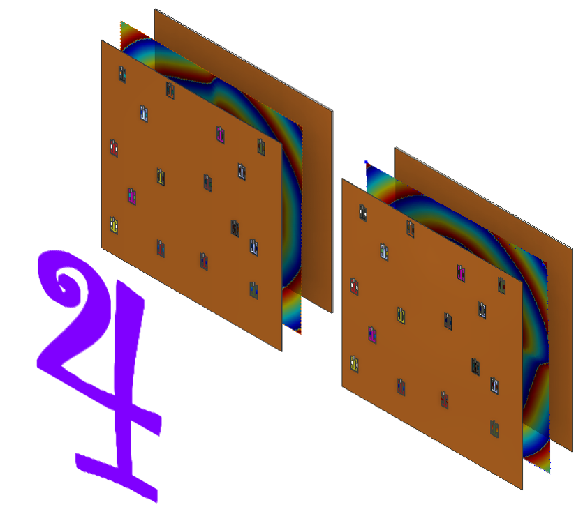 Three thin layers sandwiched together, the top most with a series of holes, standing in front of a number 4