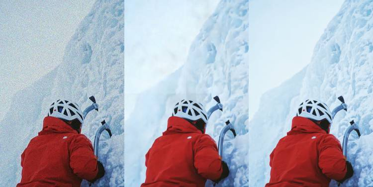 three versions of a photo of an ice climber