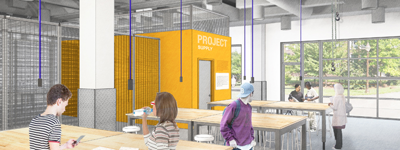 Architect rendering of garage lab