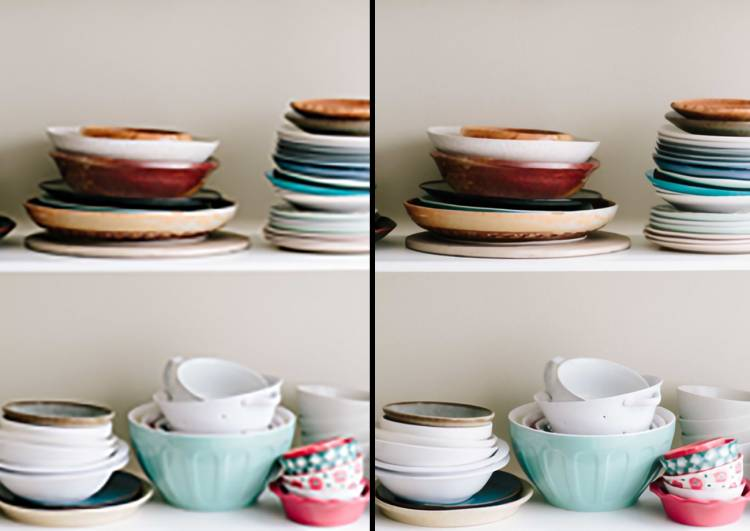 Two versions of two photos of plates, bowls and cups before and after being sharpened