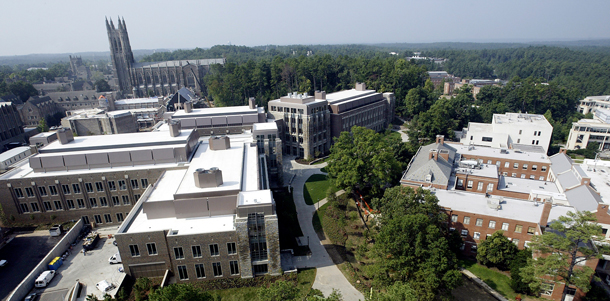 Aerial shot of the Duke Engineering campus
