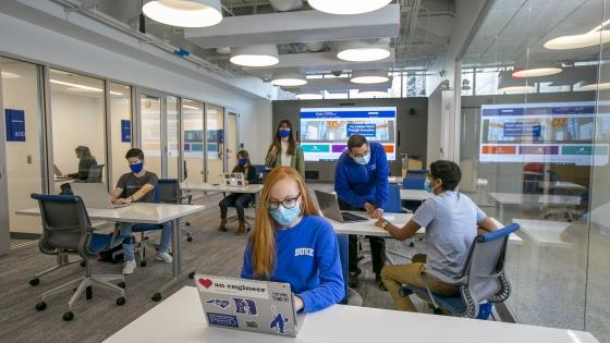 students work in the entrepreneurship center