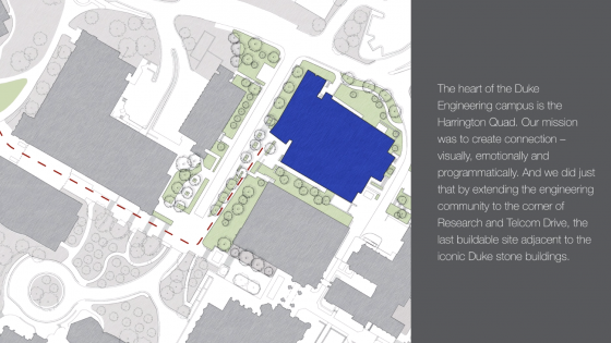 Architect's drawing of Duke campus