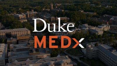 MEDx logo and aerial photo