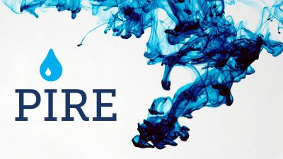 PIRE logo and water graphic