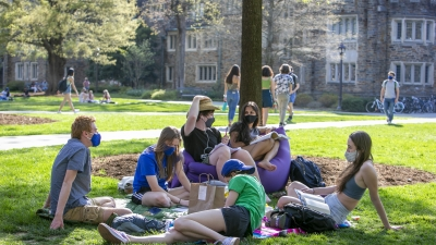 Duke students gather on campus.