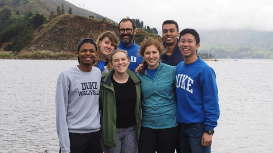 Michael Bergin with students conducting air quality research in Bolivia