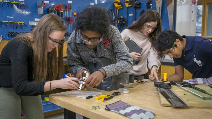 students work with tools in the Design POD