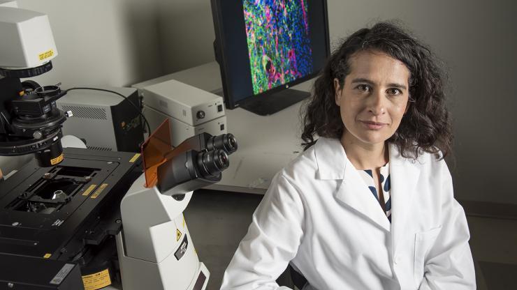 Tatiana Segura with lab equipment