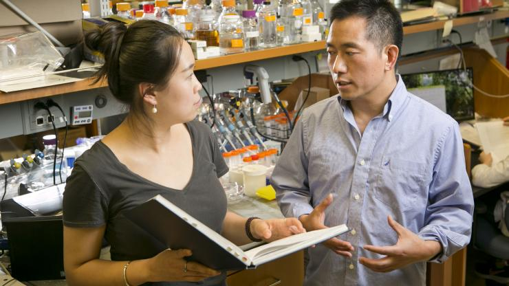 Graduate student Yangxiaolu (Will) Cao speaks with Lingchong You in the You lab space.