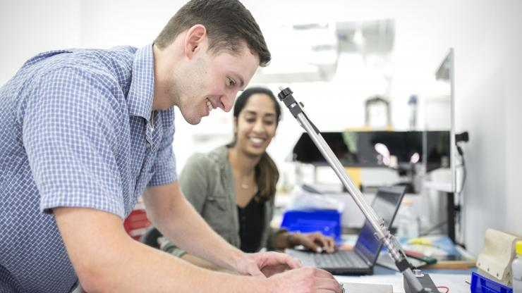 BME Design Fellows Deepthi Nacharaju and Gregory Goldman work on various projects during their internship at Blur Product Development in Research Triangle Park