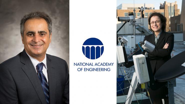 Vahid Tarokh, Ana Barros, and the NAE logo