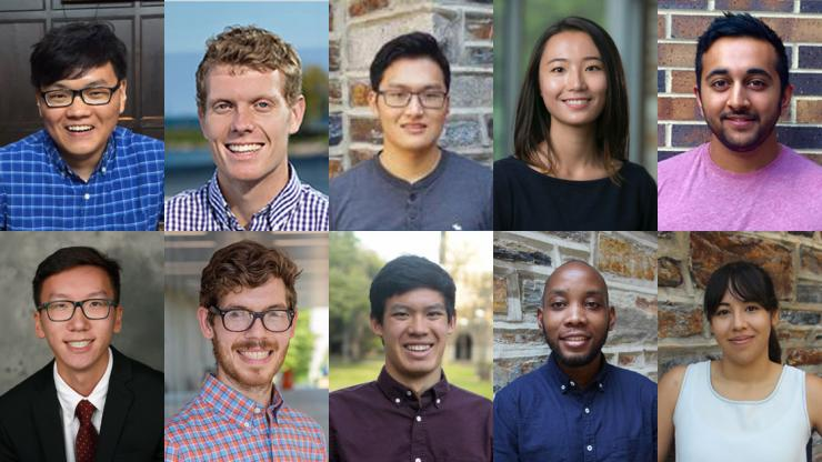 Ten PhD students earned competitive fellowships that will support one year of reserach.