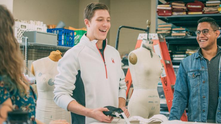 Lucas Hoffman (MEng 2020) and Juan Velasquez (Pratt '19) collaborate with Erin West, Duke's new Costume Shop manager, on a prosthetic system to help form clothing for people with disabilities.