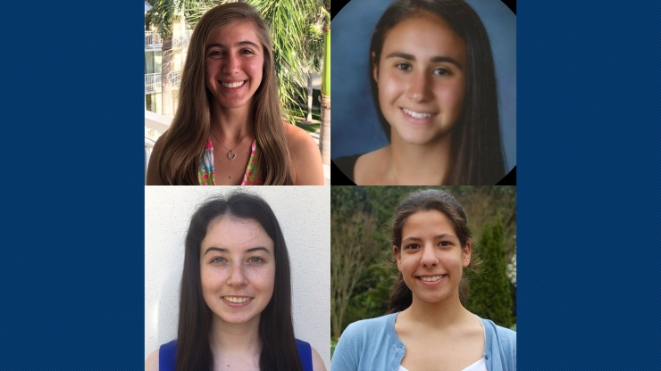 BME students Emelina Vienneau (top left), Sarah Jacobs (bottom left), Julia Ross (top right) and Petek Sener (bottom right) will participate in the Coulter College design experience in August.
