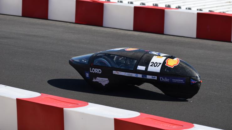 Duke Electric Vehicles' hydrogen car takes the track at Shell Eco-Marathon Americas