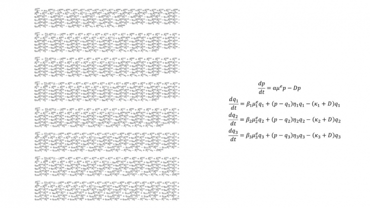 Two lists of equations, one more than 40 lines long, the other just three