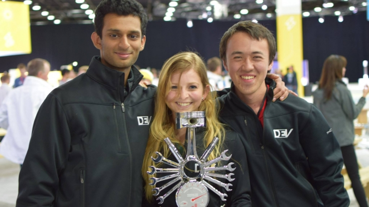Duke Electric Vehicles co-presidents, left and right, Aniruddh Marellapudi and Patrick Grady, and in center, team driver Caroline Ayanian.