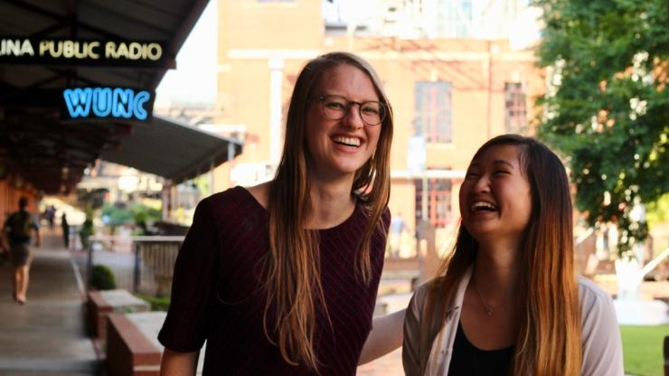 Maddie Wilkinson and Joanna Li at a Durham, NC event for Tech Scholars