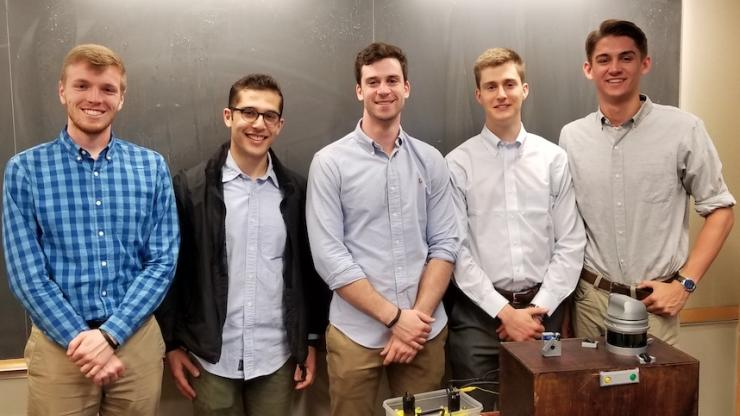 From left to right: Mechanical Engineering students Jack Gregory, Ziad Elarab, Patrick Combe, Ryan Cox and Daniel Connolly