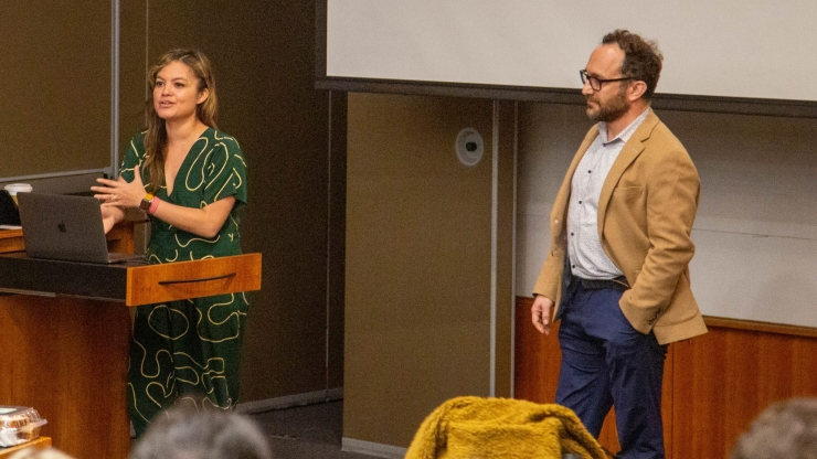 Kat Mañalac and Uri Lopatin of Y Combinator speak at Duke on Feb. 25, 2020.