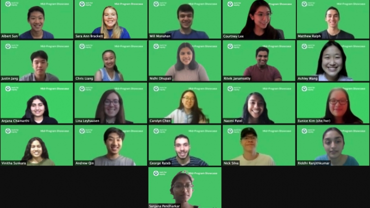 21 student interns in a Zoom meeting with green background screens