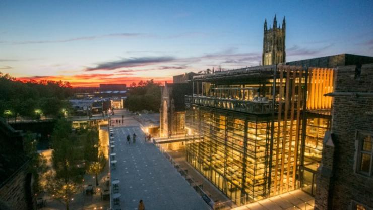 Duke's university center neighborhood at dusk