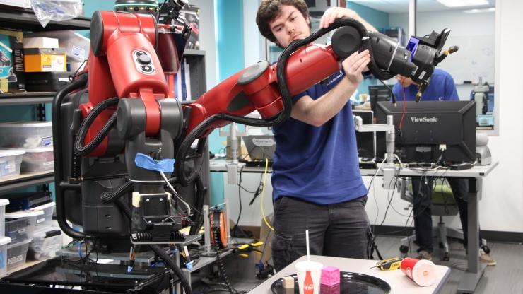 the robo-nurse, TRINA, in the Duke Robotics Lab