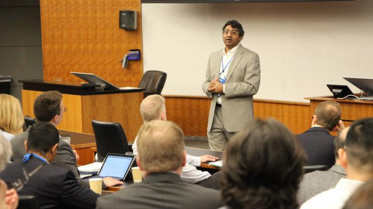 Ravi Bellamkonda addresses the crowd at the Engineering Biology for Medicine conference.
