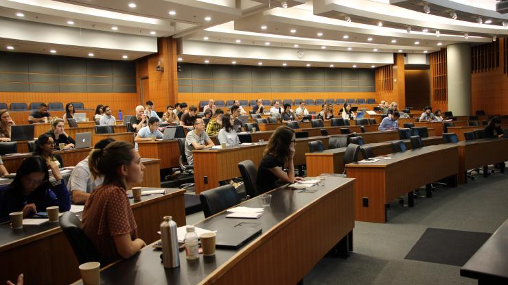 A crowd listens to one of the speakers during the Duke BME Biomaterials Symposium