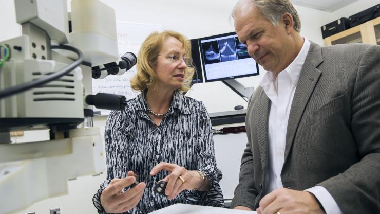 Dr. Cynthia Toth, the Joseph A.C. Wadsworth Professor of Opthalmology, and Joseph Izatt, the Michael J. Fitzpatrick Professor of Engineering