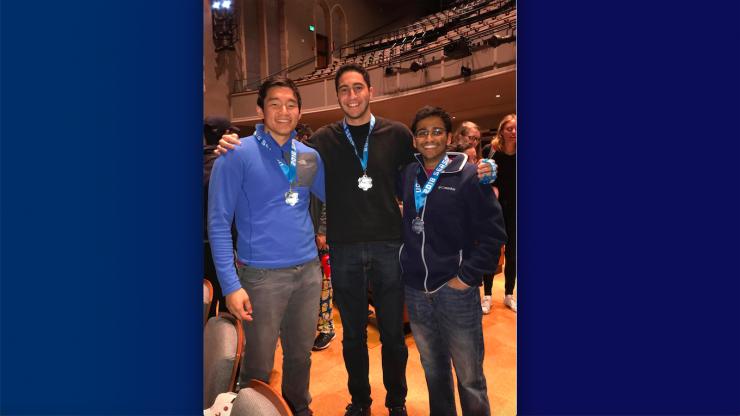 Jason Liu, Faris Albarghouthi, Jay Gupta and Manav Avlani (not pictured) won first prize at the 2017 HackDuke competition