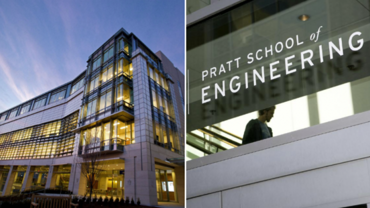 Trent Semans Center (left) and Pratt School of Engineering (right)