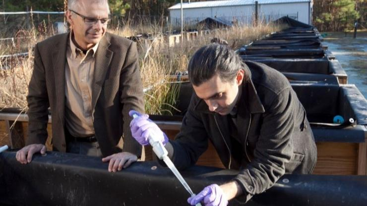 Mark Wiesner and graduate student work in the CEINT mesocosm facility