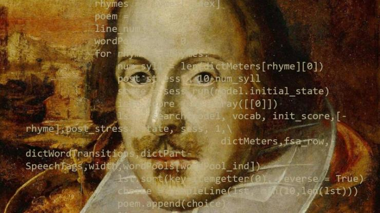 William Shakespeare with lines of code on top of his face