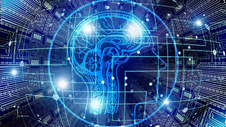 artificial intelligence stock image with brain and computer circuits