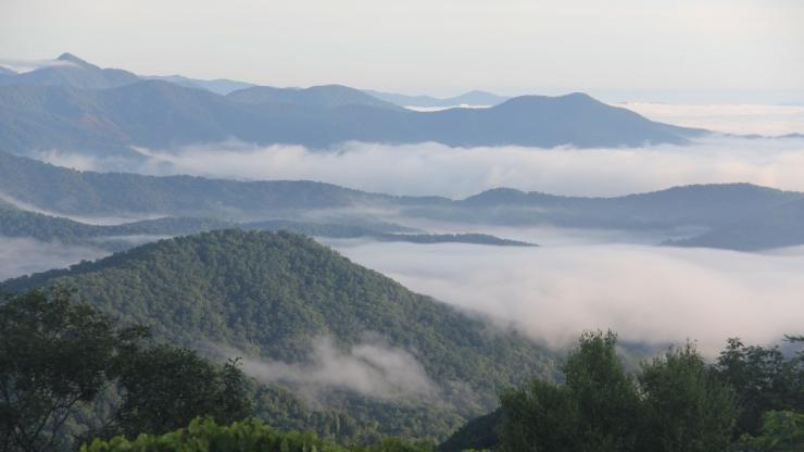 Foggy Blue Ridge Mountains