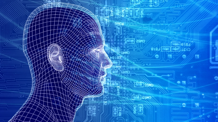 A blue human head with a grid on it with symbols of computer circuits swirling around