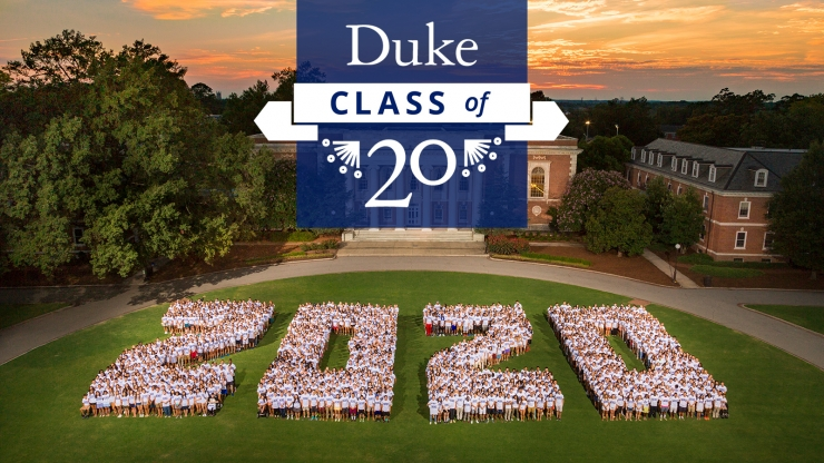 aerial view of the Class of 2020 with text: Duke Class of 20
