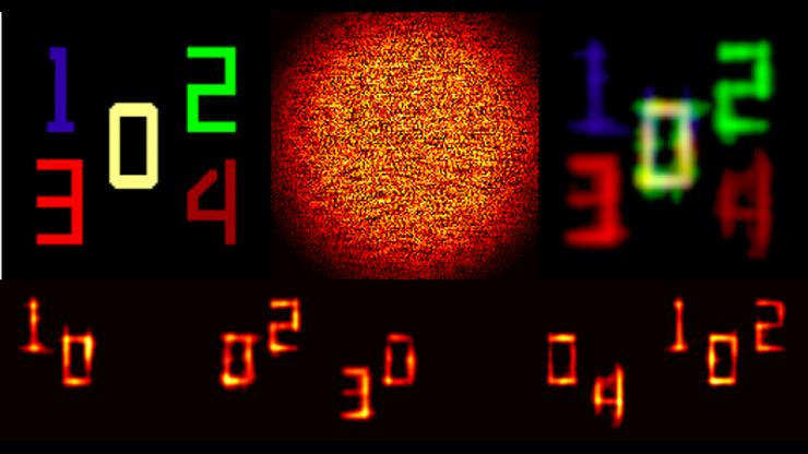 Digits 0 through 4 in different colors reconstructed with some distortion