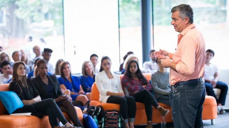 Duke alumnus Eddy Cue discussed his career at Apple and advised students in a program designed to attract more women into technology fields. Photo by Duke Photography