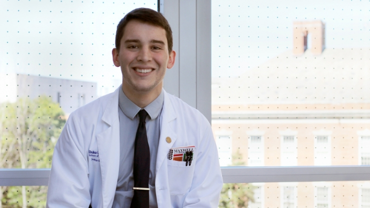The inaugural Barr-Spach Medicine and Engineering Scholarship recipient Joshua D'Arcy M'19