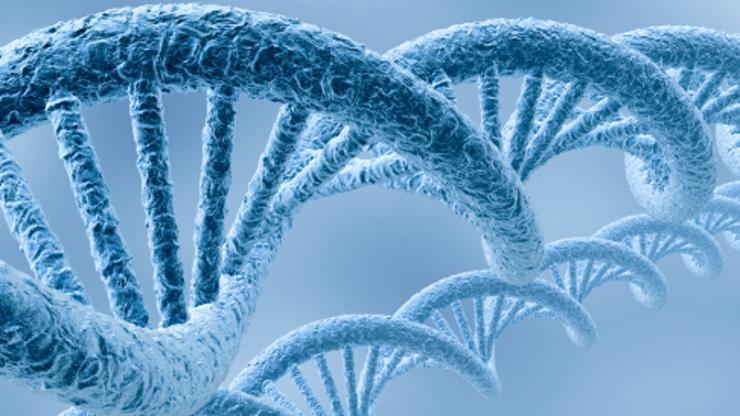light blue DNA double helix strand
