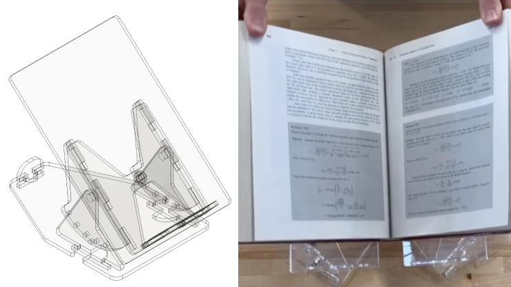 Computer image and photo of the adjustable, inexpensive and easy-to-store cradle for rare books designed by Duke Engineering first-year students.