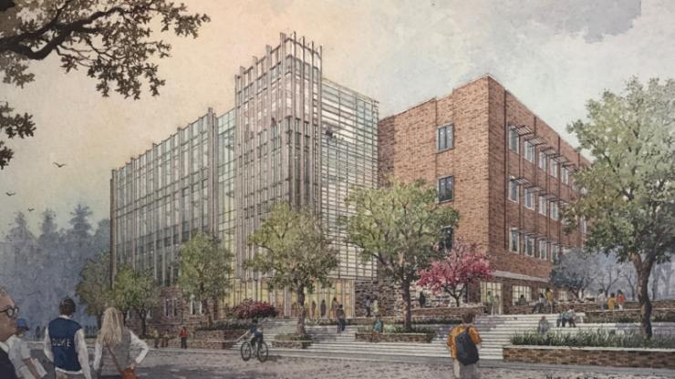 Conceptual art of new Duke Engineering building